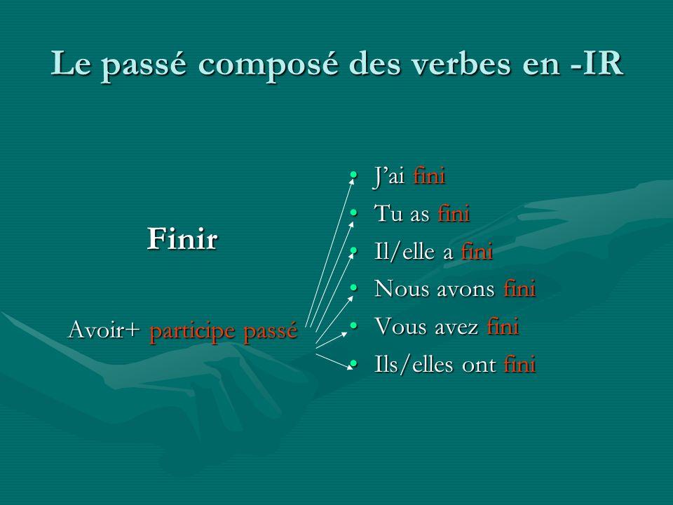 Le passé composé des verbes en -IR