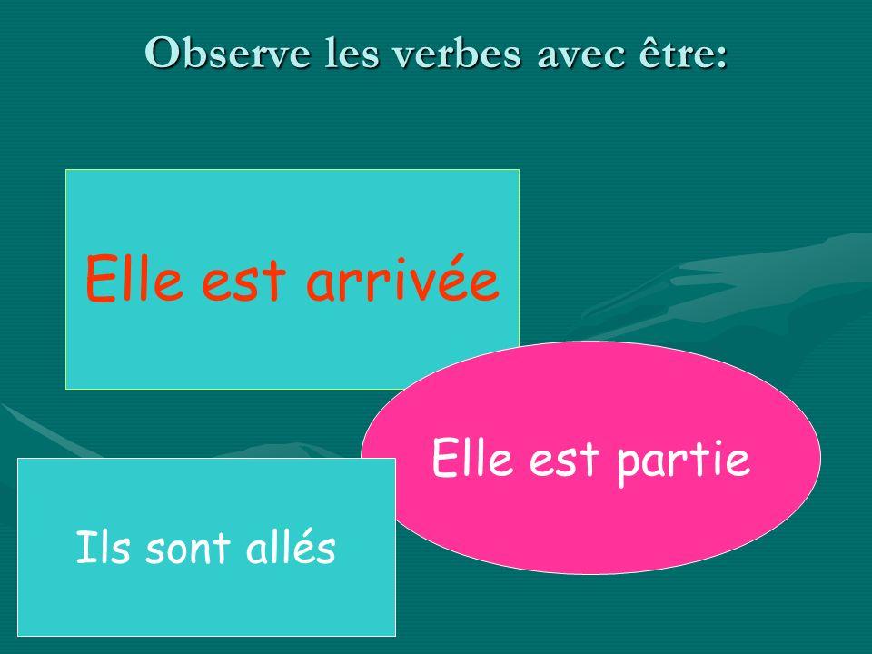 Observe les verbes avec être: