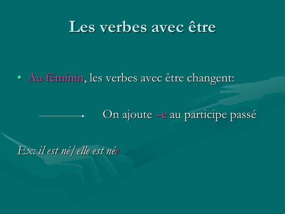 Les verbes avec être Au féminin, les verbes avec être changent: