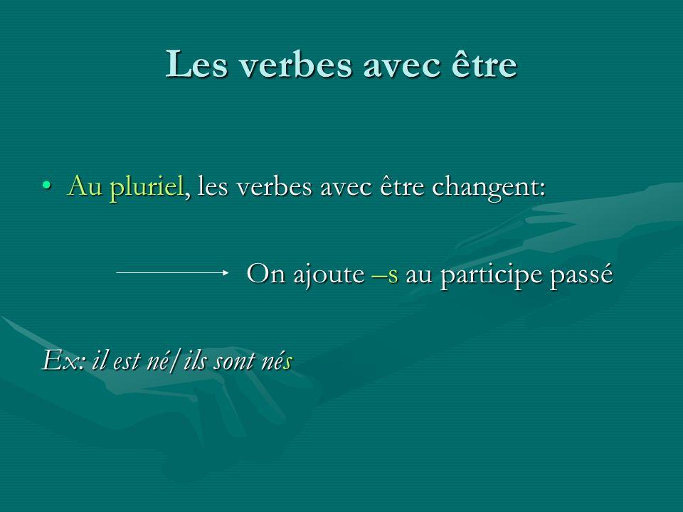 Les verbes avec être Au pluriel, les verbes avec être changent:
