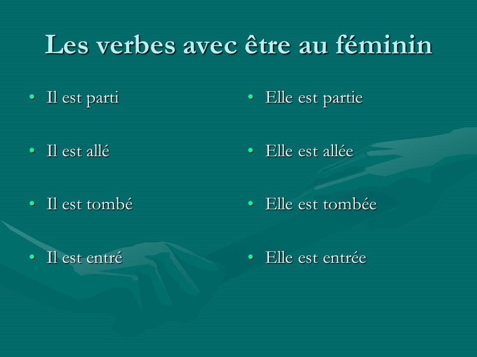 Les verbes avec être au féminin