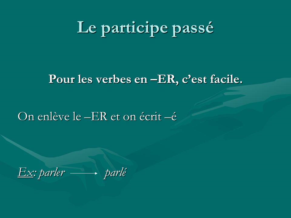 Pour les verbes en –ER, c'est facile.