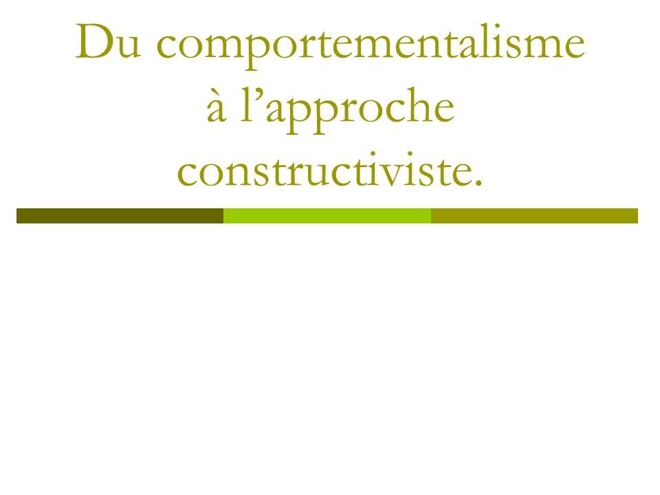 Du comportementalisme à l'approche constructiviste.