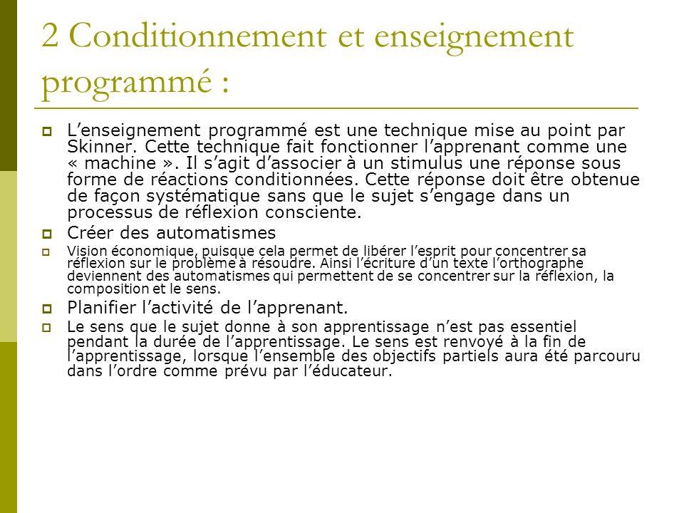 2 Conditionnement et enseignement programmé :