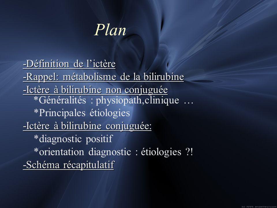 Plan -Définition de l'ictère -Rappel: métabolisme de la bilirubine
