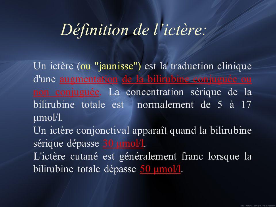 Définition de l'ictère: