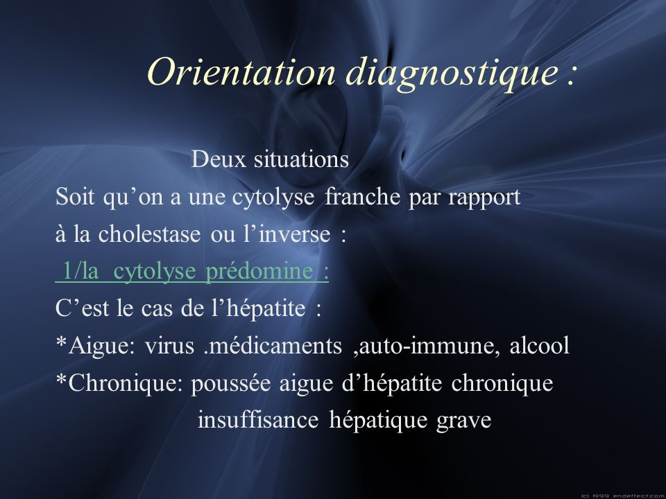 Orientation diagnostique :