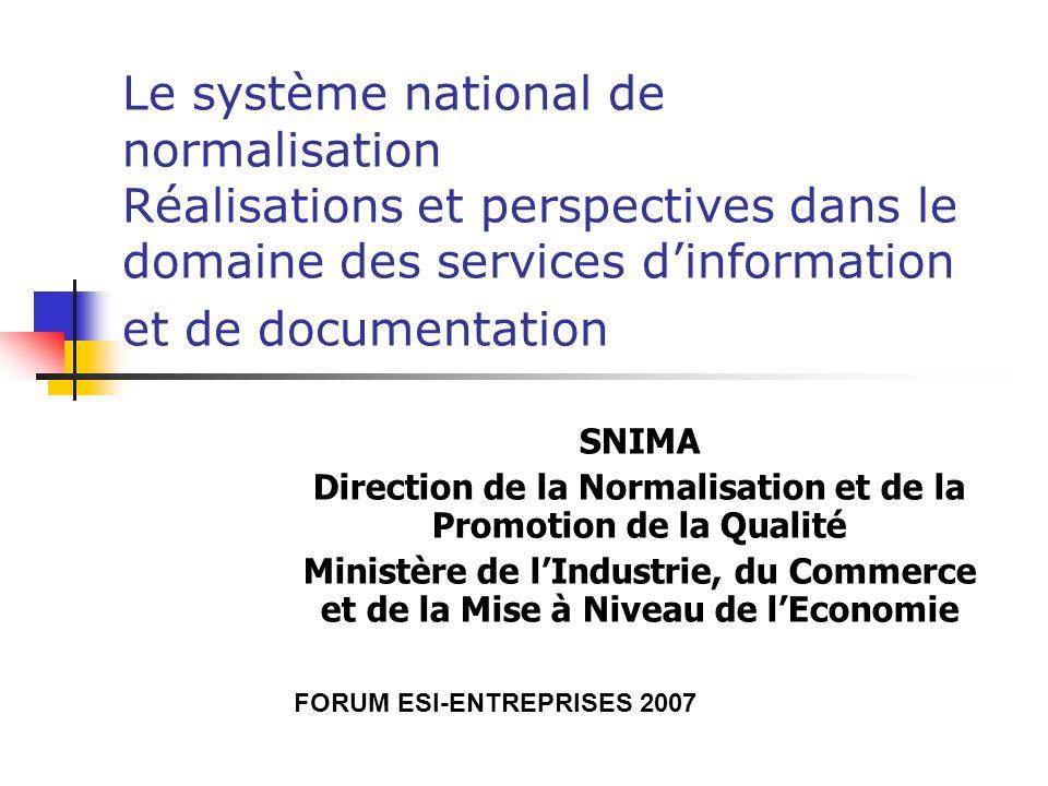 Le système national de normalisation Réalisations et perspectives dans le domaine des services d'information et de documentation