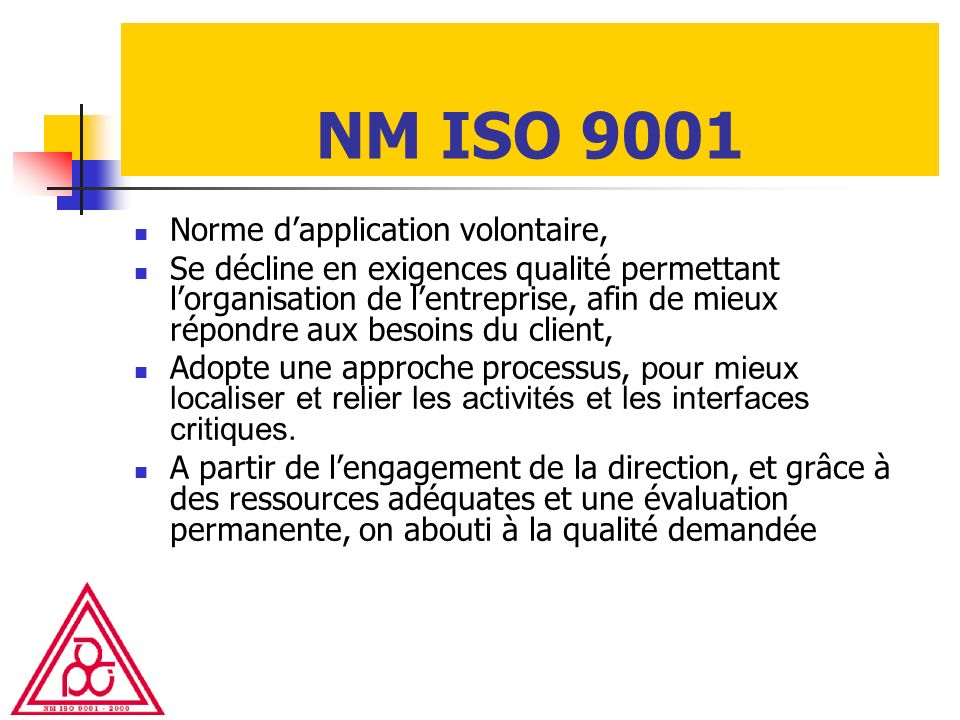 NM ISO 9001 Norme d'application volontaire,