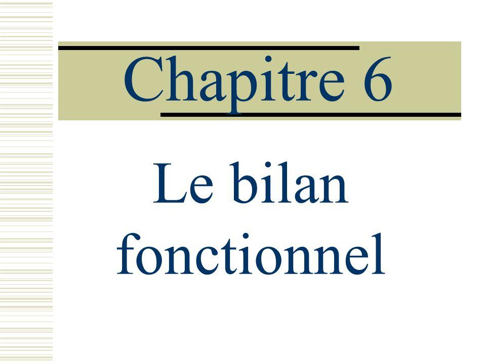 Chapitre 6 Le bilan fonctionnel