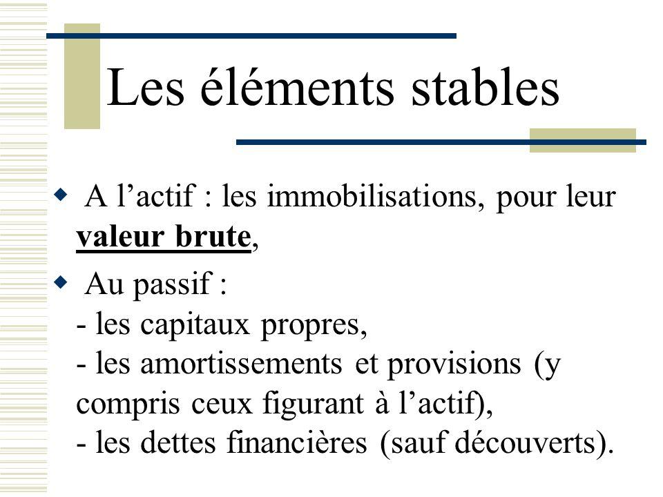 Les éléments stables A l'actif : les immobilisations, pour leur valeur brute, Au passif : - les capitaux propres,
