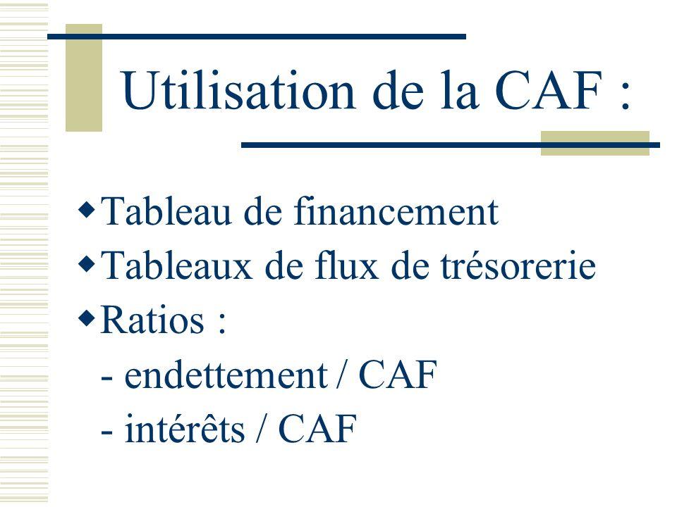 Utilisation de la CAF : Tableau de financement