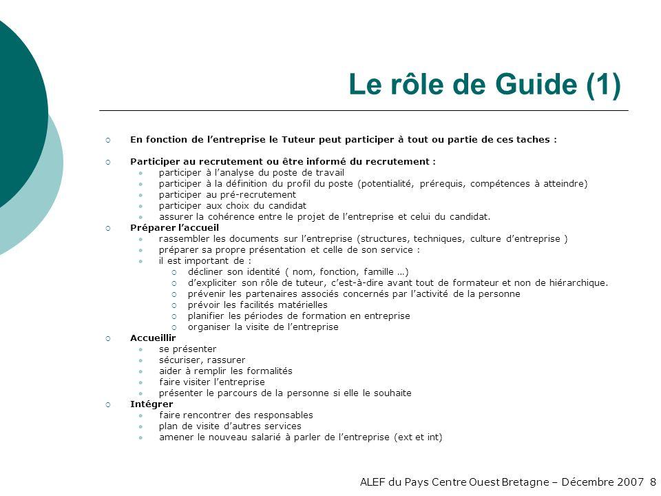 Le rôle de Guide (1) En fonction de l'entreprise le Tuteur peut participer à tout ou partie de ces taches :