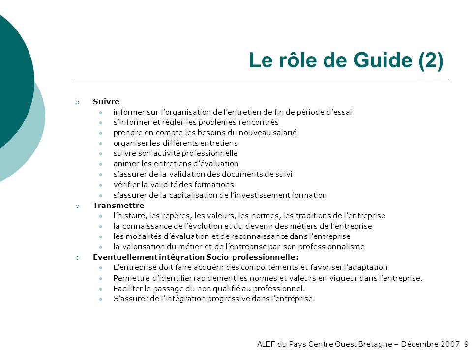 Le rôle de Guide (2) Suivre
