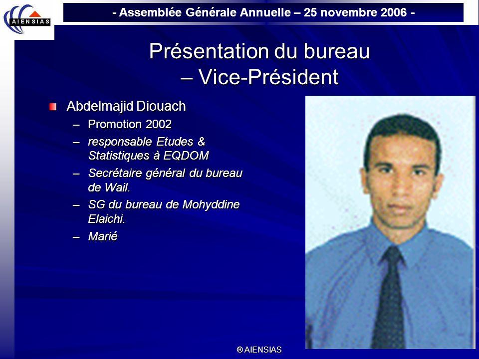 Présentation du bureau – Vice-Président