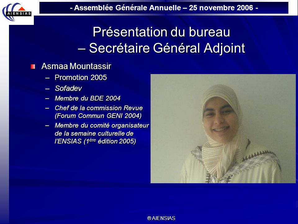 Présentation du bureau – Secrétaire Général Adjoint