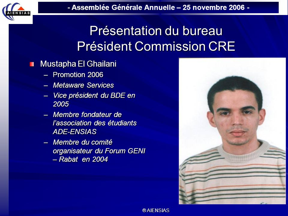 Présentation du bureau Président Commission CRE