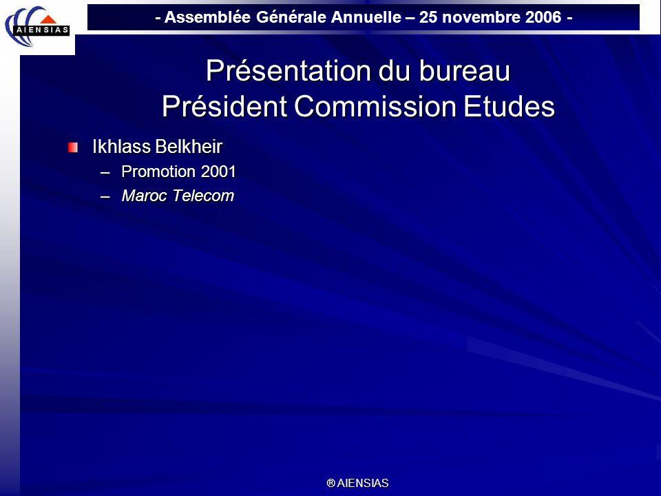 Présentation du bureau Président Commission Etudes