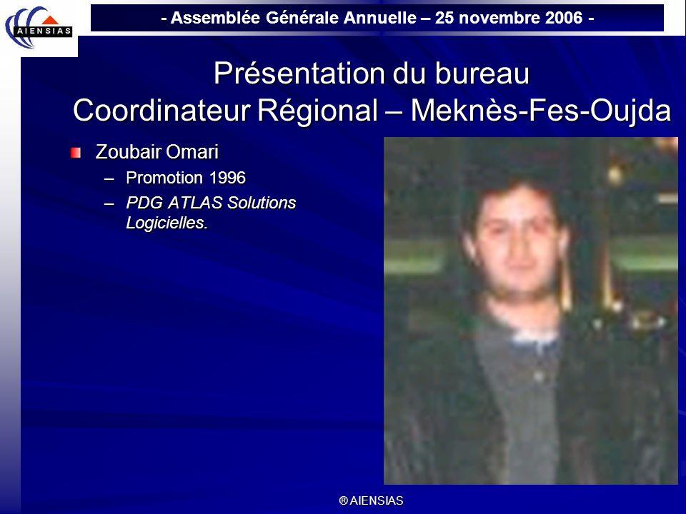 Présentation du bureau Coordinateur Régional – Meknès-Fes-Oujda