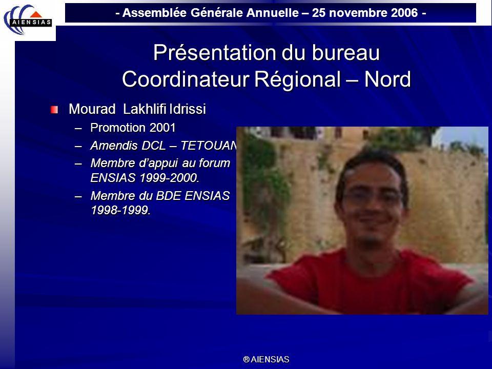 Présentation du bureau Coordinateur Régional – Nord