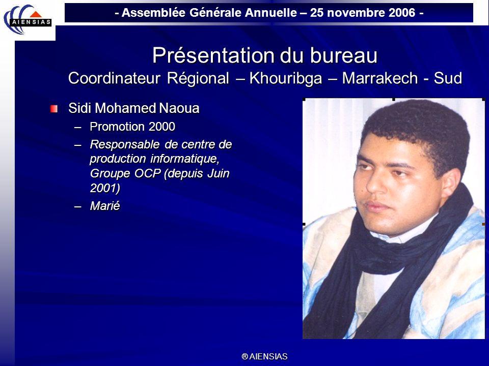 Présentation du bureau Coordinateur Régional – Khouribga – Marrakech - Sud