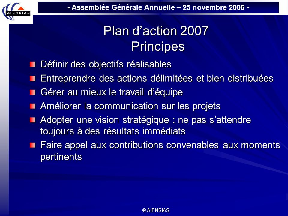Plan d'action 2007 Principes