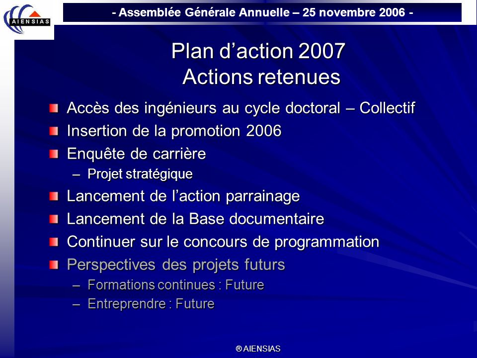 Plan d'action 2007 Actions retenues