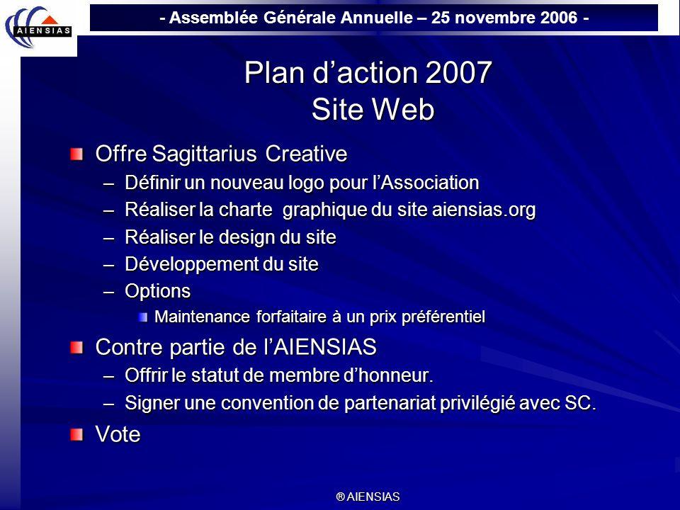 Plan d'action 2007 Site Web Offre Sagittarius Creative