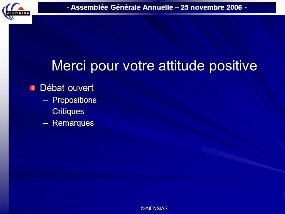 Merci pour votre attitude positive