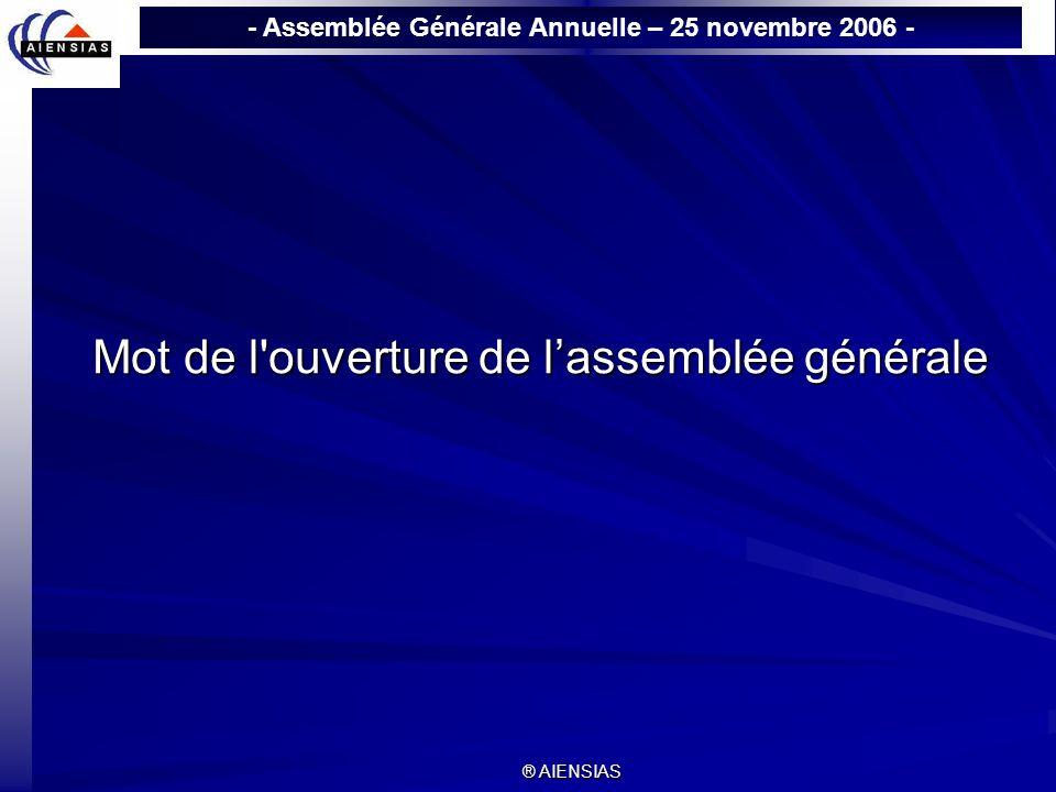 Mot de l ouverture de l'assemblée générale