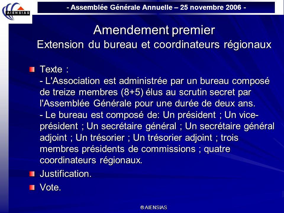 Amendement premier Extension du bureau et coordinateurs régionaux