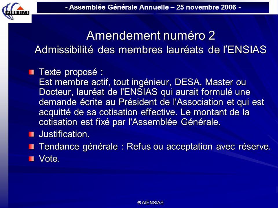 Amendement numéro 2 Admissibilité des membres lauréats de l'ENSIAS