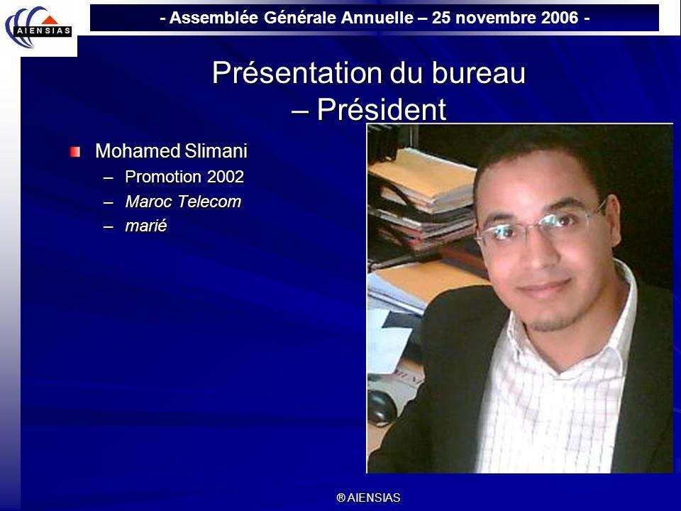 Présentation du bureau – Président
