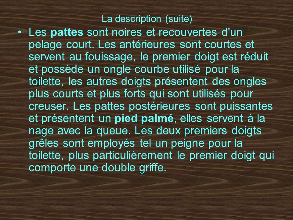 La description (suite)