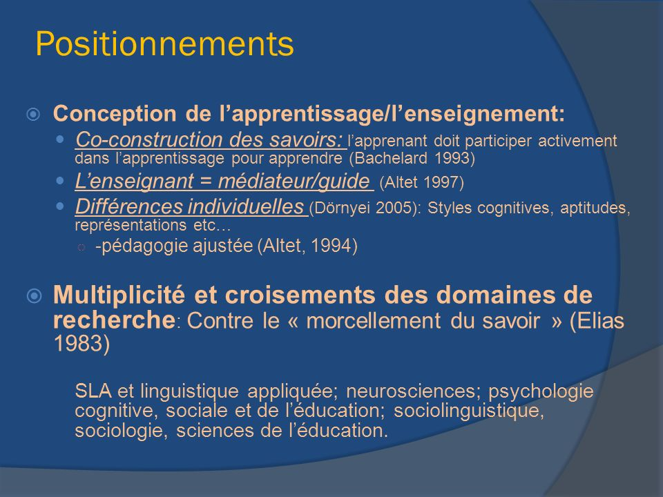 Positionnements Conception de l'apprentissage/l'enseignement: