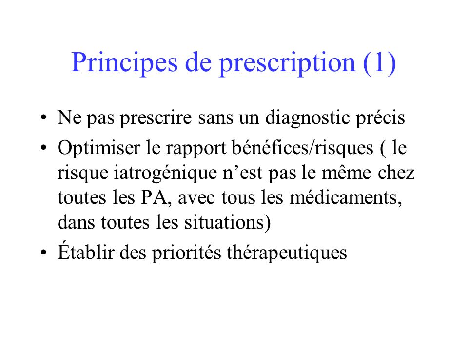 Principes de prescription (1)