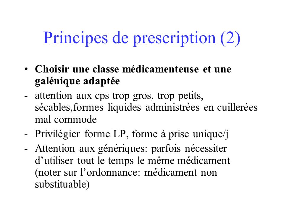 Principes de prescription (2)