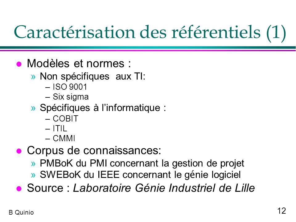 Caractérisation des référentiels (1)