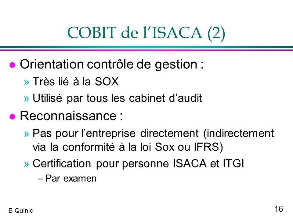 COBIT de l'ISACA (2) Orientation contrôle de gestion :
