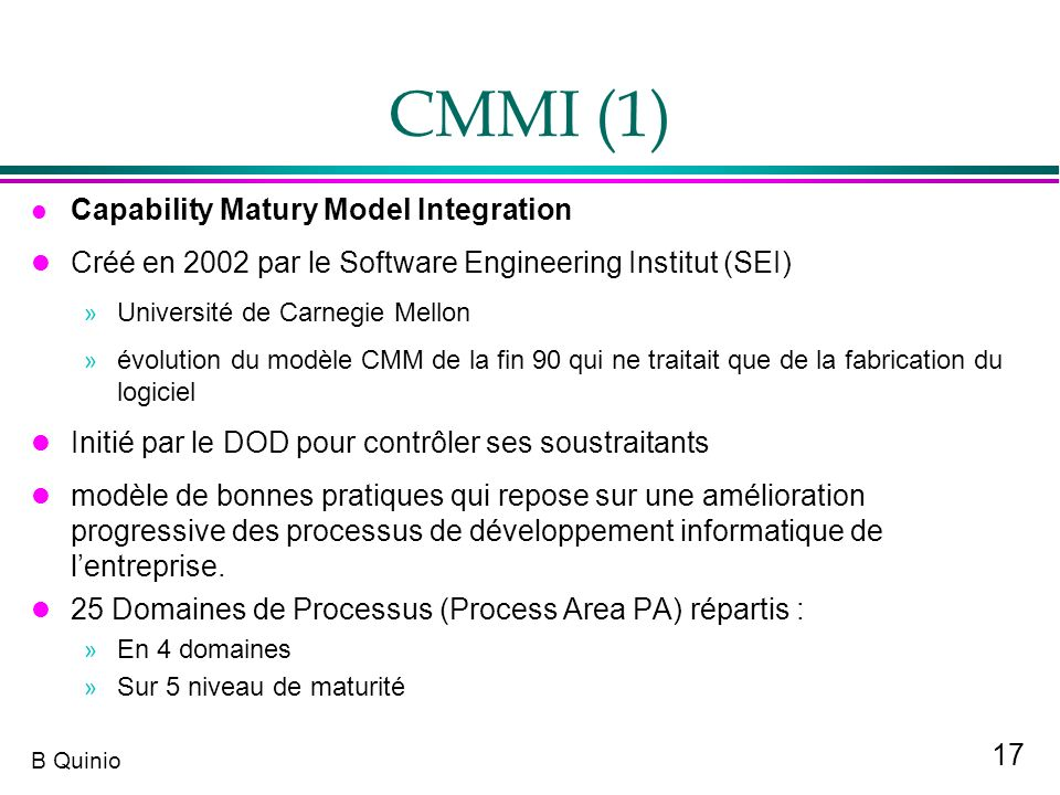 CMMI (1) Capability Matury Model Integration