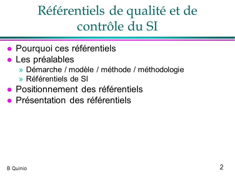 Référentiels de qualité et de contrôle du SI