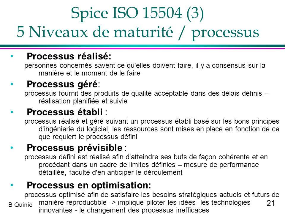 Spice ISO 15504 (3) 5 Niveaux de maturité / processus