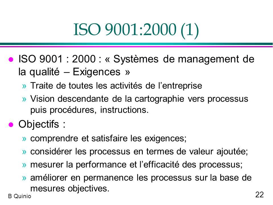 ISO 9001:2000 (1) ISO 9001 : 2000 : « Systèmes de management de la qualité – Exigences » Traite de toutes les activités de l'entreprise.