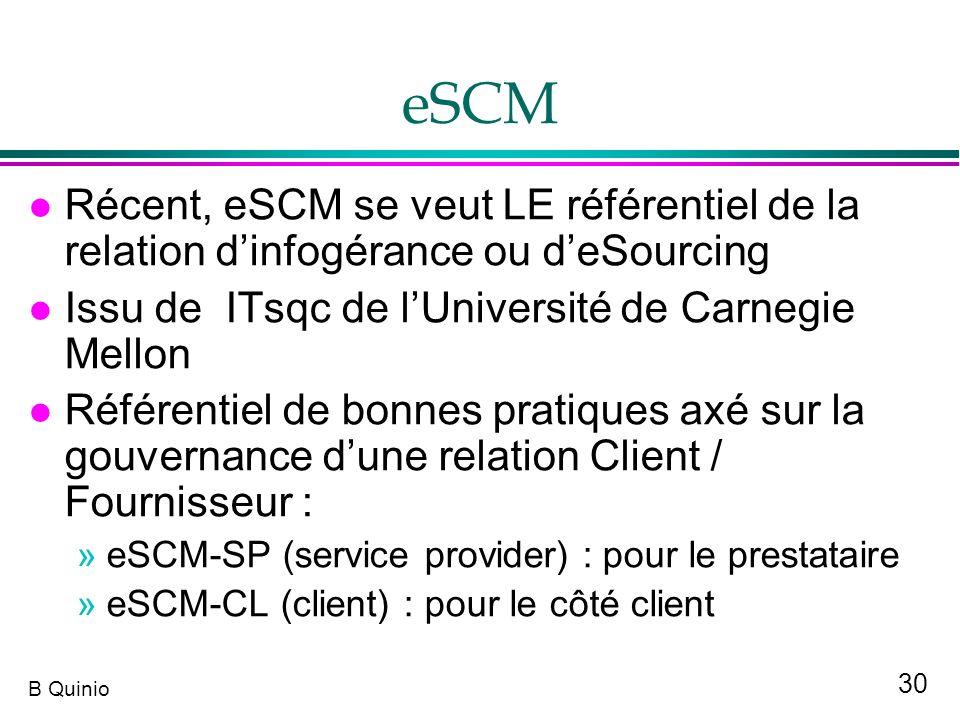 eSCM Récent, eSCM se veut LE référentiel de la relation d'infogérance ou d'eSourcing. Issu de ITsqc de l'Université de Carnegie Mellon.