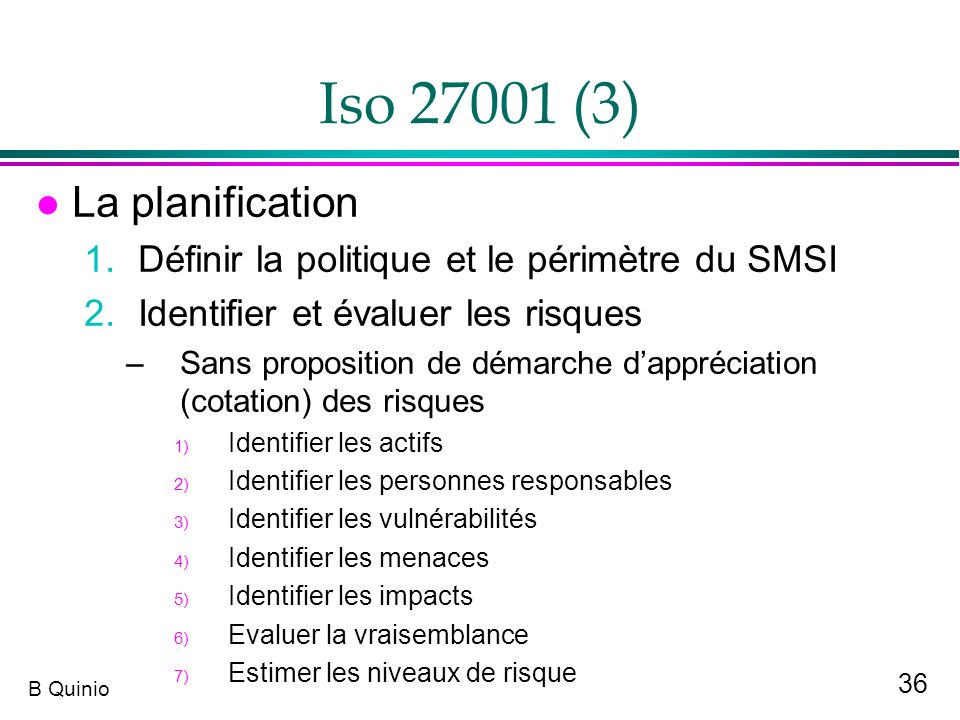 Iso 27001 (3) La planification