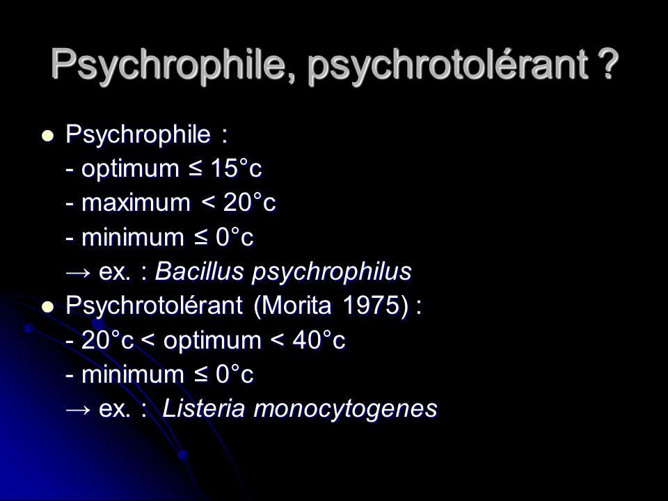 Psychrophile, psychrotolérant
