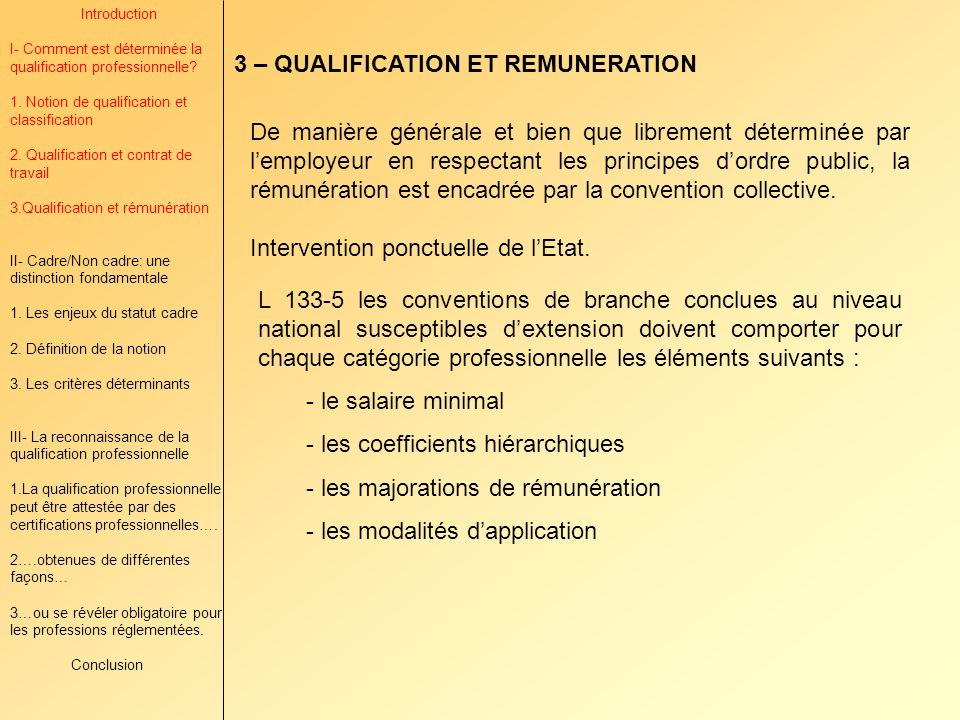 3 – QUALIFICATION ET REMUNERATION