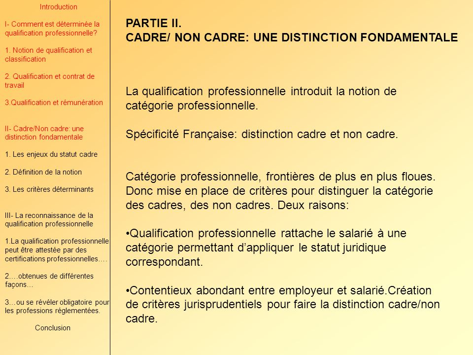 CADRE/ NON CADRE: UNE DISTINCTION FONDAMENTALE
