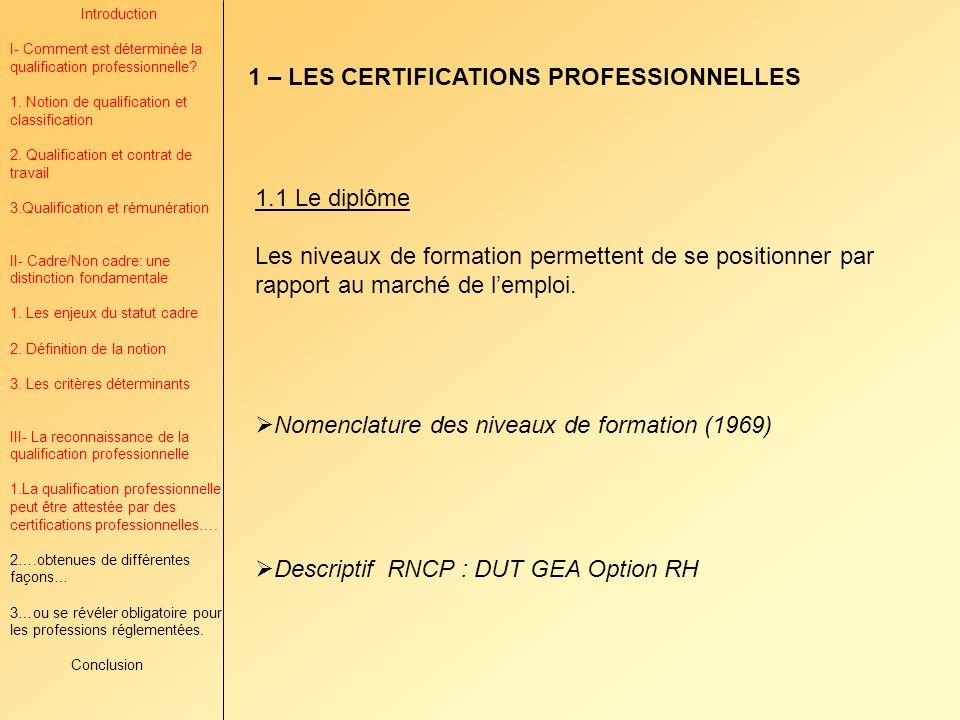 1 – LES CERTIFICATIONS PROFESSIONNELLES