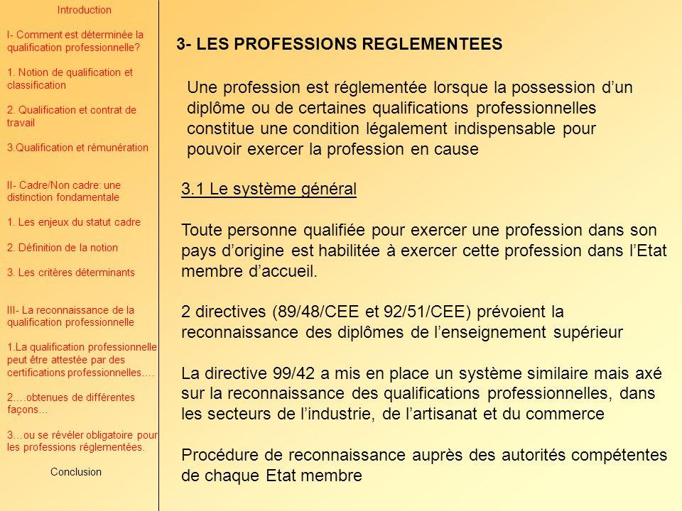 3- LES PROFESSIONS REGLEMENTEES